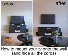 Hide the cords to tv mounted on the wall