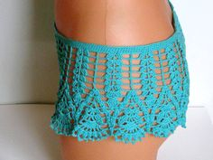Original crochet beach short, Women Swimwear shorts, LACE Crochet Shorts, turquoise shorts, Sexy shorts, Boho shorts, Bohemian clothing, Sexy Womens clothing  Holiday gifts for all of you and your family ones.  Summer accessories for women  It is designed for comfortable and stylish usage.  Elegant Original crochet surf short in turquoise crocheted from silk effect ALIZE Diva stretch yarn, so its flexible   Briefs with a side portion, of the top of the embedded rubber. Hip circumference (cm)…