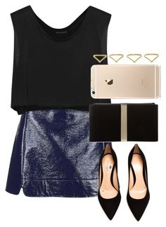 """""""Sem título #936"""" by isacris-28 ❤ liked on Polyvore featuring Topshop, Kiki de Montparnasse, Gianvito Rossi, Roger Vivier and Ana Khouri"""