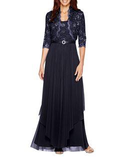 796e75fcbd0 R M Richards - R M Richards Women s Sequin Lace Long Jacket Dress - Mother  of the Bride Dress - Walmart.com