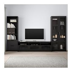 IKEA BRIMNES TV storage combination/glass doors Black 320 x 41 x 190 cm This TV storage combination has plenty of extra storage and makes it easy to keep your living room organised. Brimnes, Glass Cabinet Doors, Glass Shelves, Glass Doors, Tv Storage, Media Storage, Record Storage, Extra Storage, Glass Tv Unit