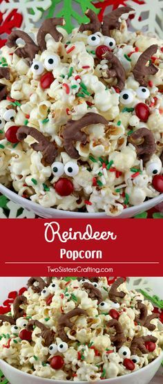 Reindeer Popcorn - sweet, salty, delicious and look at those adorable candy Reindeer! This fun popcorn recipe would be a great Christmas Dessert for a Holiday Party or a Christmas Famil (Holiday Party Mix) Holiday Snacks, Christmas Snacks, Snacks Für Party, Party Desserts, Christmas Goodies, Christmas Appetizers, Christmas Party Treats For Kids, Christmas Parties, Holiday Dinner