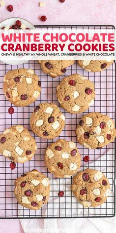 Healthy White Chocolate Cranberry Cookies are chewy, heart healthy, and perfect for the holidays. With whole wheat, cranberries, and white chocolate chips.