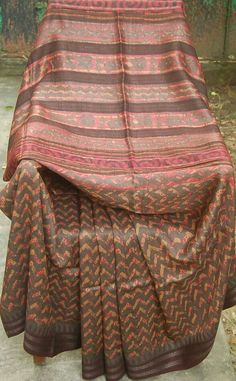 Tussar with dabu print