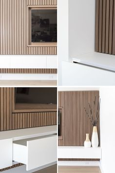 Design Detail – A Wood Slat Accent Wall Surrounds The TV In This Living Room This modern living room features a wood slat accent wall that surrounds the TV and provides a row of white storage cabinets. Wood Slat Wall, Wood Panel Walls, Wood Slats, Tv Walls, Wood Accent Walls, Tv Wall Panel, Wall Tv, Accent Walls In Living Room, Living Room Tv