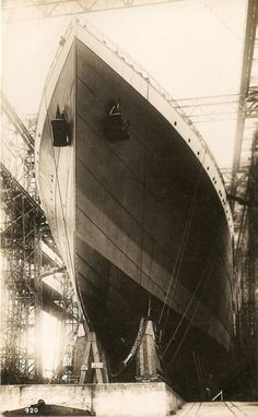 White Star Line BRITANNIC under construction.. a sister ship of Titanic
