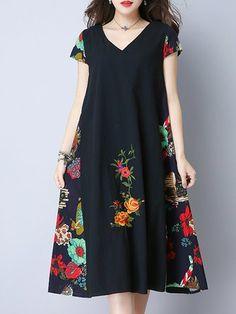 Granatowa sukienka dla kobiet w print V, dekolt w szpic, bawełniana sukienka w kwiaty