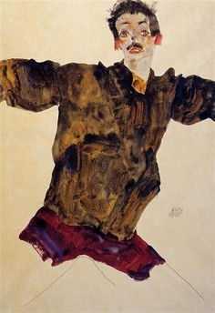 Egon Schiele, Self Portrait with Outstretched Arms, 1911, watercolour on paper, Albertina, Vienna, Austria