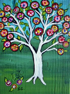 Mexican Folk Art Penny Tree Happy Tree  original by icColors, $30.00