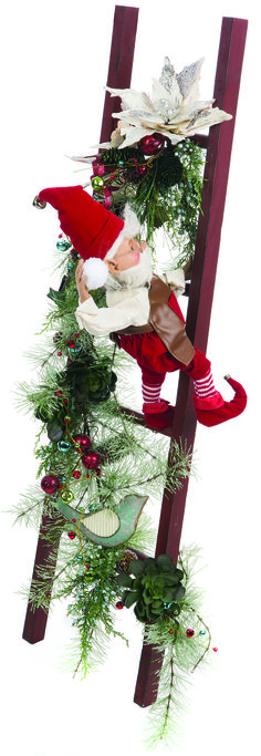 christmas elves on ladder Office Christmas Decorations, Christmas Window Display, Christmas Wood, Christmas Centerpieces, Christmas Wreaths, Christmas Crafts, Outdoor Christmas Planters, Nutcracker Christmas, Diy Weihnachten