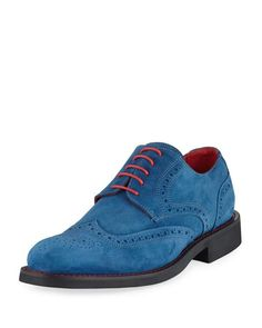 Bugatchi Arezzo Suede Lace-Up Oxford, Blue