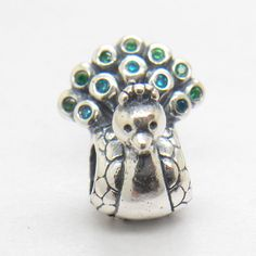 New Silver Beautiful Peacock Charm With Mint & Green Cz LW295 #European