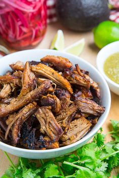 A healthier version of carnitas, a braised Mexican pulled pork that is broiled until crispy on the outside but is still moist and tender on the inside and just packed with flavour!