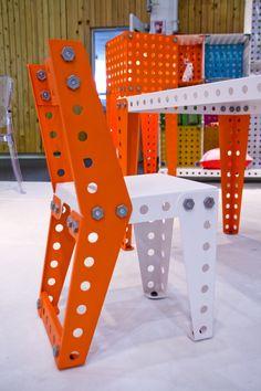 Welded Furniture, Loft Furniture, Modular Furniture, Steel Furniture, Furniture Design, Sheet Metal Fabrication, Wood Bar Stools, Steel Art, Lego Design