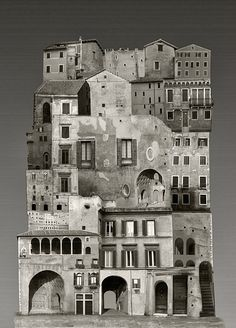 Large Scale Architectural Collages by Anastasia Savinova - Each collage is comprised of layer upon layer of photographs shot in various European capitals.