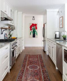 6 Small Galley Kitchen Ideas That Are Straight Up Great These small galley kitch. - 6 Small Galley Kitchen Ideas That Are Straight Up Great These small galley kitchens prove that long - White Galley Kitchens, Galley Kitchen Design, Galley Kitchen Remodel, Diy Kitchen, Kitchen Interior, Cool Kitchens, Kitchen Decor, Kitchen Cabinets, Kitchen Ideas