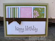 Quick and easy idea if you have a square punch.  Use up some favorite cardstock scraps!