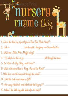 Safari Animals Nursery Rhyme Quiz Game, instant download, Animal Baby Shower Game on Etsy, $3.00