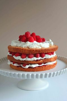 Raspberry and Cream Sponge Cake NOTE: I have made this for years and the raspberry jam keeps the cake moist and tasty. Just Desserts, Delicious Desserts, Dessert Recipes, Italian Desserts, Tasty Kitchen, Sponge Cake Recipes, Love Cake, Let Them Eat Cake, No Bake Cake