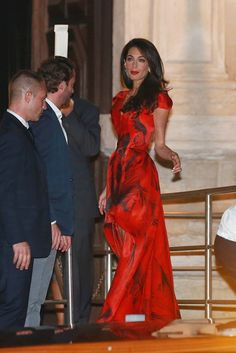 Amal Alamuddin wore a stunning Alexander McQueen dress for her and George Clooney's pre-wedding dinner. // #Wedding