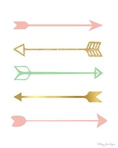 Pink and Gold Arrows Art Print Arrow Print by PennyJaneDesign Pink Und Gold, Mint Gold, Arrow Nursery, Arrow Art, Kitchen Wall Art, Diy Kitchen, Kitchen Ideas, Grafik Design, Girl Nursery