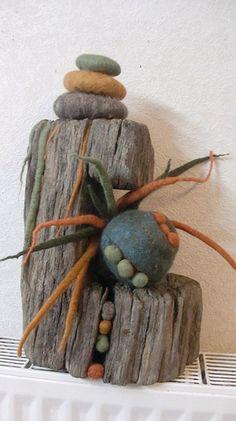 CIMG4568 wet felted. Sculpture on driftwood