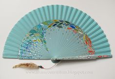 Abanico Tirititran. Hand painted spanish fan. Blue with colorful leaves
