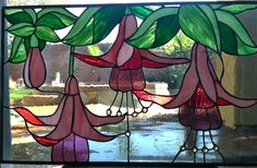 Large Vintage Floral Stained Glass Window Fuchsia Flowers