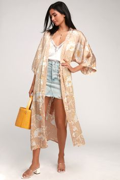 b18d32a2 Lulus | Iris Beige Floral Print Satin Duster Robe | Size Large | 100%  Polyester
