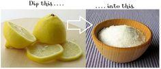 Clean shower doors with lemon halves dipped in kosher salt. Dip lemon in salt, scrub doors, let sit and rinse.