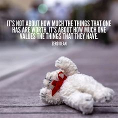 """""""It's not about how much the things that one has are worth, it's about how much one values the things that they have."""" - Zero Dean"""