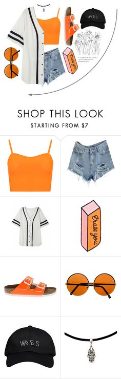 """""""orange woes"""" by canary-coronaries ❤ liked on Polyvore featuring WearAll, Tuesday Bassen, Birkenstock and October's Very Own"""