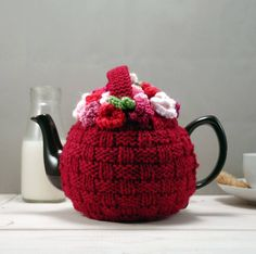 Brighten your morning cuppa with a pretty hand knitted flower basket tea cosy.This vintage style tea cosy would make a perfect gift for anyone with a nostalgic streak. Inspired by my grandmothers flower cosy, the colours have been brought up to date with a cherry red merino wool basket stitch and masses of brightly coloured flowers, topped with a decorative handle. Fits a 6 cup tea pot. Handknitted in Somerset . If you would like a colour of your choice, please contact us as we are happy to…