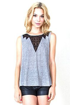 The Sugarlips Bonnie Lace Top is a gray knit top with black lace inset for a nice contrast.  Price : $50.00 #MyLuluCloset #Sugarlips #NewArrivals
