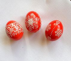Set of 3 Red Hand Decorated Colours Painted Chicken by VeryAndVery