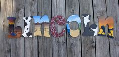Custom Painted Wooden Letters, Hand Painted Baby Letters, Wall Decor