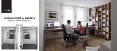 El ANTES y el DESPUÉS del espacio de trabajo_Eo3 Arquitectos Javier y Mercedes trabajando, Luci también participa