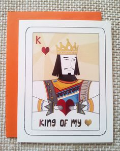 gold foiled valentine's card with king of hearts - i love you card - deck of cards style card for him boyfriend - i love you card - birthday