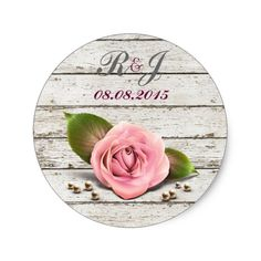Shop whitewashed wood pink rose french country wedding classic round sticker created by ElegantCountry. Dusty Rose Wedding, Floral Wedding, Rustic Wedding, Wedding Ideas, Wedding Invitation Inspiration, Country Wedding Invitations, Magical Wedding, Perfect Wedding, Whitewash Wood