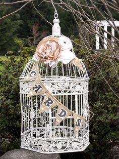 Shabby Chic Bird Cage Card Holder 840. $50.00, via Etsy.