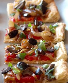 A French version of a pizza, pissaladiere is rich and flaky -- a perfect Meatless Monday main course or holiday party appetizer. Briny olives and caramelized onions also lend it a salty sweetness. You can make your own puff pastry or take a shortcut and use store bought.