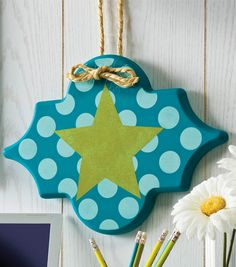Polka Dot Star Plaque | Dorm Room Decor | Decorate your room with a DIY Wooden Sign from Joann.com