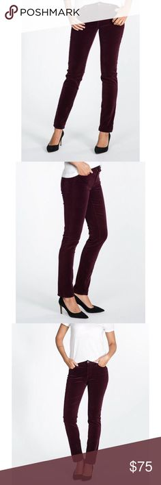 AG prima corduroy jeans AG prima corduroy jeans in wine. (Mid rise) Wore these once, with no signs of wear. Excellent condition like new, and super comfortable. Love this color and great for fall. 98% cotton 2%poly                   No trades, no lowballing, no 🅿️🅿️ AG Adriano Goldschmied Pants Straight Leg