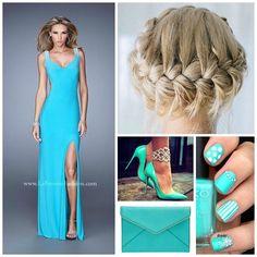 La Femme 21227 ~ long prom dress ~ braid crown ~ pageant ~ stand out dress ~ prom dress with slit ~ jersey dress ~ v neckline ~ open back dress ~ aquamarine dress ~ nail art ~ prom 2016 ~
