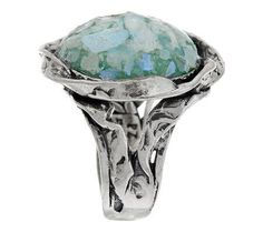 Or Paz Sterling Roman Glass Textured Round Ring — QVC.com