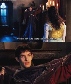"""Merlin, I'm sure there's an explanation."" [ ha ha! I love how Gwen hardly ever questions Merlin's oddities. ]"