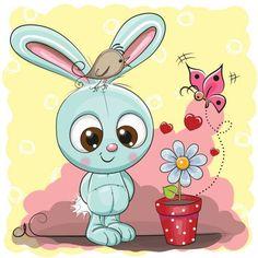 Bonito dos desenhos animados coelho com flor - ilustração de arte em vetor
