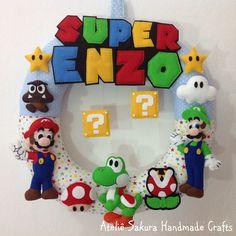 Guirlanda Porta de Maternidade tema Super Mario Bros para o Enzo
