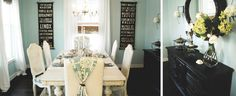 Love the blue walls with white trim and dark hardwood. Maybe think of painting the Buffet black.