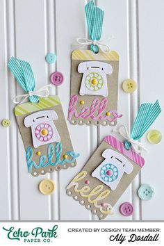 """Hello Tags by @alydosdall with the """"Dots & Stripes"""" collection and Designer Dies by #echoparkpaper"""